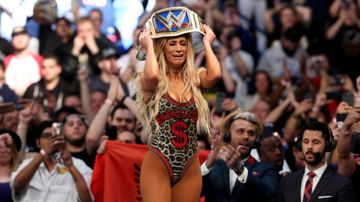 carmella smackdown title win crying