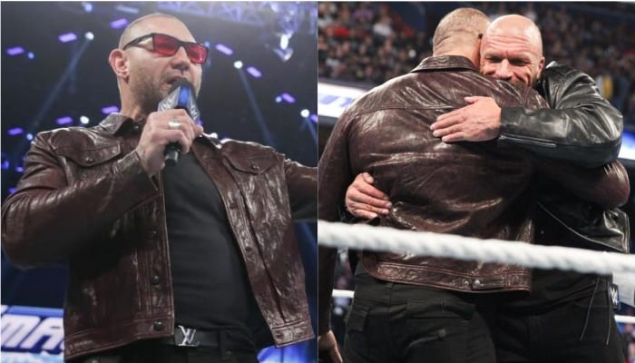 batista triple h hugging whatever this is stupid i hate my life i want to die