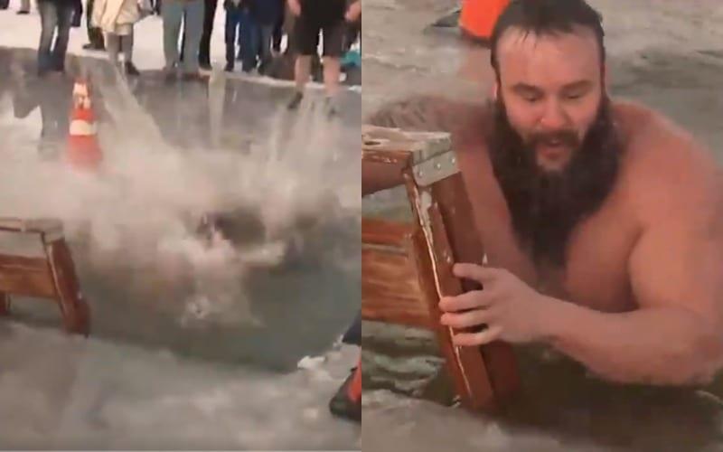 watch braun strowman take the polar plunge