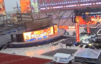 WWE Repairing Storm Damaged WrestleMania Set